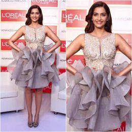 Wholesale 2016 Stunning Bead Sequins Crew Gray Organza Short Evening Dresses Prom Wear Sonam Kapoor Red Carpet Celebrity Dress Sexy Vestidos Chic