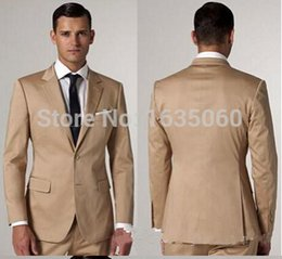 Wholesale 2015 custom made Slim fit champagne piece suit single with Groom Tuxedos Peak Lapel Groomsmen Best Man Suit coat pants