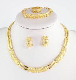 Wholesale African Beads Wedding Dress Accessories Costume Women Party Gold Plated Crystal indian Necklace Bangle Earring Ring Jewelry Sets