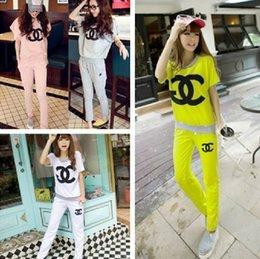 Wholesale 2014 New casual letter sports suit for women short sleeve t shirt and pants cotton colors size M XL