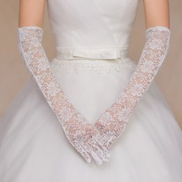 Wholesale Cheap Lace Gloves Long Elbow Length Bridal Glove White See Through With Full Finger Sheer Formal Event Hand Accessories
