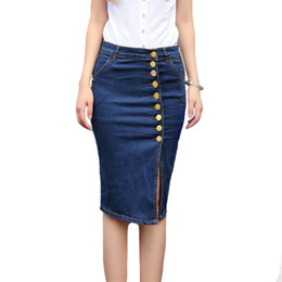 Discount Plus Size Denim Skirts Knee Length | 2017 Plus Size Denim