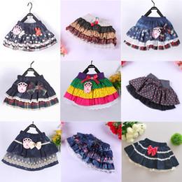 Wholesale 20 design Cotton denim bubble Pettiskirt Girl tutu skirts Pleated Skirt Pettiskirts Baby Tutu Skirts Size T T For T