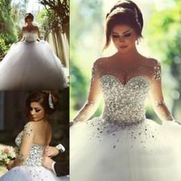 Wholesale 2016 robes de mariée à manches longues avec strass printemps Quinceanera Robes Robes de mariée Vintage nuptiale Robe de bal robe sans dos Ball