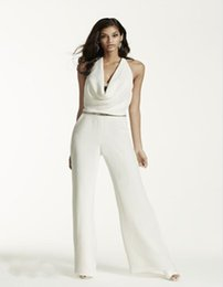 Wholesale Custom Made NEW Crepe Cowl Neck Halter Jumpsuit Style SRL682 Wedding Dresses Two Pieces and Sexy Back Bride Clothing