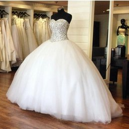 Wholesale 2015 Ball Gown Wedding Dresses with Crystals Real Pictures Sexy Sweetheart Beaded Bodice Royal Princess Gowns Spring Vintage Wedding Dresses