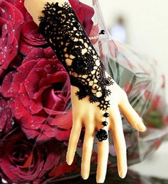 Wholesale Unique Black Lace Bridal Gloves With Flower Ring Chain Pearls Embellishment