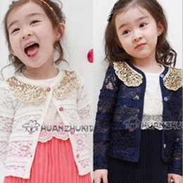 Wholesale Han edition summer lace girl outwear best sexy turn down collar kids clothing princess Jackets for kids baby long sleeve coat