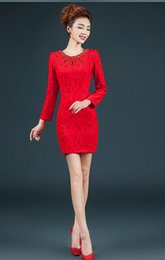 Wholesale 2015 short red half sleeve chinese style cheongsamvintage lace prom evening dress party dinner cocktail