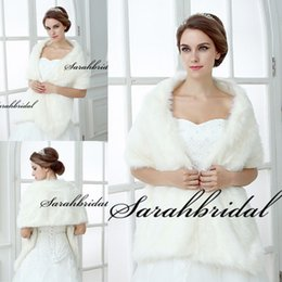 Wholesale Cheap Winter Faux Fur Warm Bridal Wraps Wedding Dress Jackets White Ivory Black Women Evening Party Bridesmaid Cape Shawls Stole Shrug