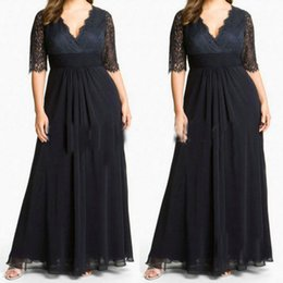 Wholesale Plus Size Special Occasion Dresses V neck Sexy Lace Black Evening Gowns Ruffle Mother of the Bride Dresses Wedding Party Plus Long Dresses
