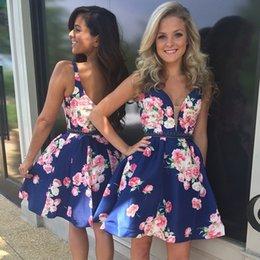 Wholesale Homecoming Dress Sexy V Neck Bodice Sleeveless Cocktail Dress Short Beaded Floral Taffeta Party Dresses