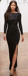 Wholesale Zuhair Murad Long Sleeves Evening Dresses Split Side Formal Gowns Backless Sequined Lace Sexy Black Prom Gowns