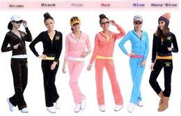 Wholesale Hot Sale New Women s Corduroy Velvet Sport Suits Track Suits Jacket Pants Set Color
