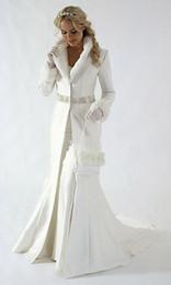 Wholesale New Arrival White Wedding Dress Cloak Court Train Satin Long Sleeves wedding Coat for bride A Line Elegant Bridal Jacket