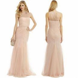 Wholesale 2015 Vestidos de dama de honor de sirena atractiva Sheer Neck un tren de barrido de hombro Monique Lhuillier vestido de dama de encaje vestido formal de dama de honor vestido
