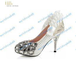 Wholesale Luxury prom heels wedding shoes women high heels crystal high heel shoes woman platforms silver rhinestone platform pumps
