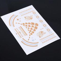 Wholesale Nice Jewel Inspired Metallic Temporary Tattoos Stickers Flash Tattoo Gold Silver