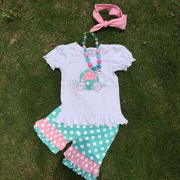 Wholesale summer new clothing baby outfits girls cute shorts set girls white boutique clothing girls shorts set with necklace and headband