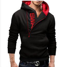 Wholesale Men s Clothing Letters of bump color man fleece side zipper Hoodies Sweatshirts Jacket Sweater Assassins creed Size M XL