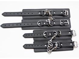 Wholesale 2016 Quality PU Leather Bondage Sex Cuffs Wrist Ankle Cuffs Restraints Bondage Gear Set Adult Sex Toy