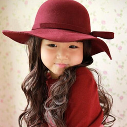 Wholesale Baby Wool Felt Hat Girls Bowknot Big Brim Floopy Cap Kids Accessories Children Fedoras Casual Caps