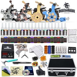 Wholesale Tattoo Kit Top Machine Gun Color Ink Power Supply Needle Complete D176DD
