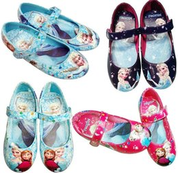 Wholesale Frozen Elsa Princess Shoes for Girls Size Blue pink black Little Girl Frozen girl Princess Shoes For Frozen Dresses