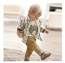 Wholesale new spring baby clothes set cool boy suits t shirt shirt pants children garment And Retail