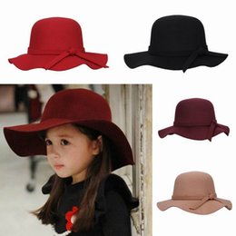Wholesale Children Girl Faux Wool Felt Hats Vintage Soft Wide Brim Caps Outdoor Casual Travel Hats Colros Choose EKO