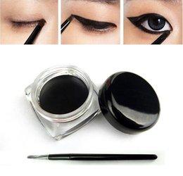 Wholesale New Beauty Waterproof Eyeliner Shadow Gel Eye Liner Makeup Cosmetic Brush Black in a box T95