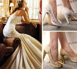 Wholesale White Lace Pearl Bridal Shoes With Bow Wedding Evening Party Prom Shoes High Heels Pumps Peep Toes Size Gold Red White