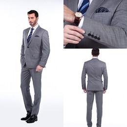 Wholesale 2015 Groom Tuxedos Wedding Suits for Men Gray Black Custom Groomsmen Suits Jacket Pants Tie Best men Suit
