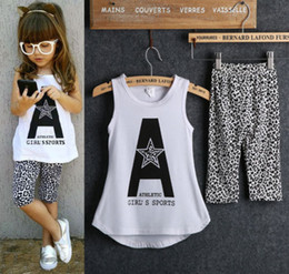 Wholesale 2015 Kids Baby Girls Sleeveless Letter Print Tops Leopard Half Pant Outfits Set Clothes