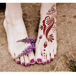 Wholesale Tattoo Templates feet henna tattoo stencils for airbrushing Party Date Daily Life Temporary Tattoo Henna Stencil for Women Feet Art Sticker
