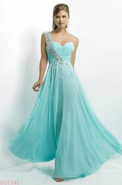 Wholesale Style Captivating Aqua One Shoulder Crystal Beaded bodice pleated Chiffon A Line Prom Pageant Dresses