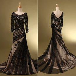 Wholesale Illusion Long Sleeve Mermaid Mother of the Bride Dresses Fall Sexy Black Tulle Applique Scoop Neck Backless Real Image Long Gowns SD111