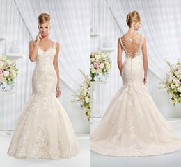 Wholesale 2015 New Style Gorgeous Bling Wedding Dresses Mermaid Style Spaghetti Straps Lace Beading Applique Garden Backless Brdial Gowns Hot Sale sdf