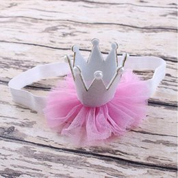 Wholesale banda para la cabeza de las niñas primer cumpleaños blanco rosado de la princesa del bebé diadema diadema corona bebé bebé perla de la corona diadema de encaje