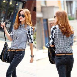 Wholesale 2015 Spring Autumn Women Plaid Shirts long sleeve Shirts female patchwork Blouse Sexy Cute Girls Clothing