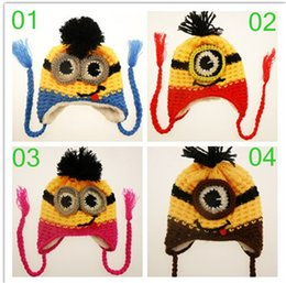 Wholesale 4 color kids minions Crochet beanie knits handmade beanies baby Despicable Me beanies caps hats christmas halloween gift