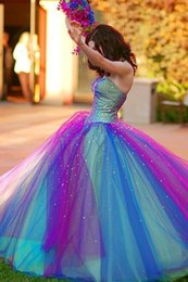 Wholesale Colorful Rainbow Quinceanera Dresses Beaded Crystal Tulle Fashion Ball Gown Sweetheart Off the Shoulder Prom Dresses New AN226