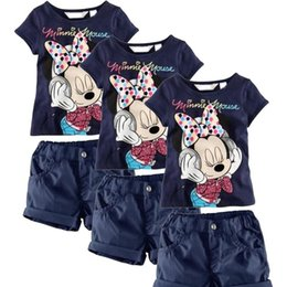 Wholesale Baby Kids Girls Summer Clothing Minnie Mouse Tops T Shirts Shorts Outfits Y