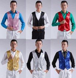 Wholesale Lentejuelas traje de la escama de los nuevos hombres del chaleco del chaleco de moda la boda del novio chaleco del ajustado de los chalecos de la boda vestido de fiesta vestido hecho a medida