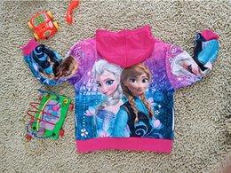 Wholesale Frozen cute coat Girl Anna Elsa Princess Hoodies jacket zipper coat Girl Anna Elsa Princess Hoodies