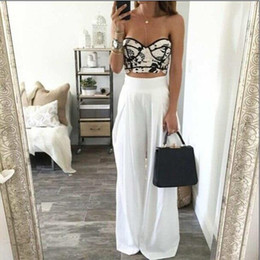 White Wide Legged Chiffon Pants Online | White Wide Legged Chiffon ...