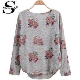 Wholesale Sheinside Fashion Autumn Women Brand Cropped Tops Female Sweater Grey Long Sleeve Florals Print Dipped Hem Knitwear Jumper