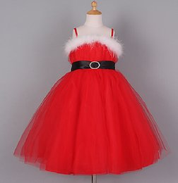 Wholesale children christmas dress red color white feather girls dresses kids new year X mas pageant dress baby girl tutu dresses