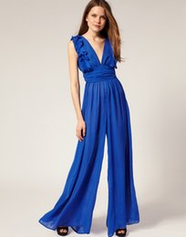 Wholesale Sexy Ruffle V Neck Casual Long Jumpsuits Wide Ankle Rompers for women Sleeveless Chiffon Material Loose V Neck High Quality