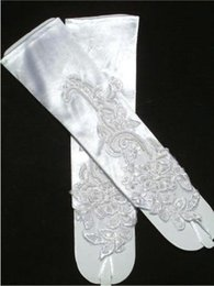 Wholesale Cheap White Ivory Beaded Appliques Lace Below Elbow Fingerless Bridal Gloves Accessories For Wedding CPA249